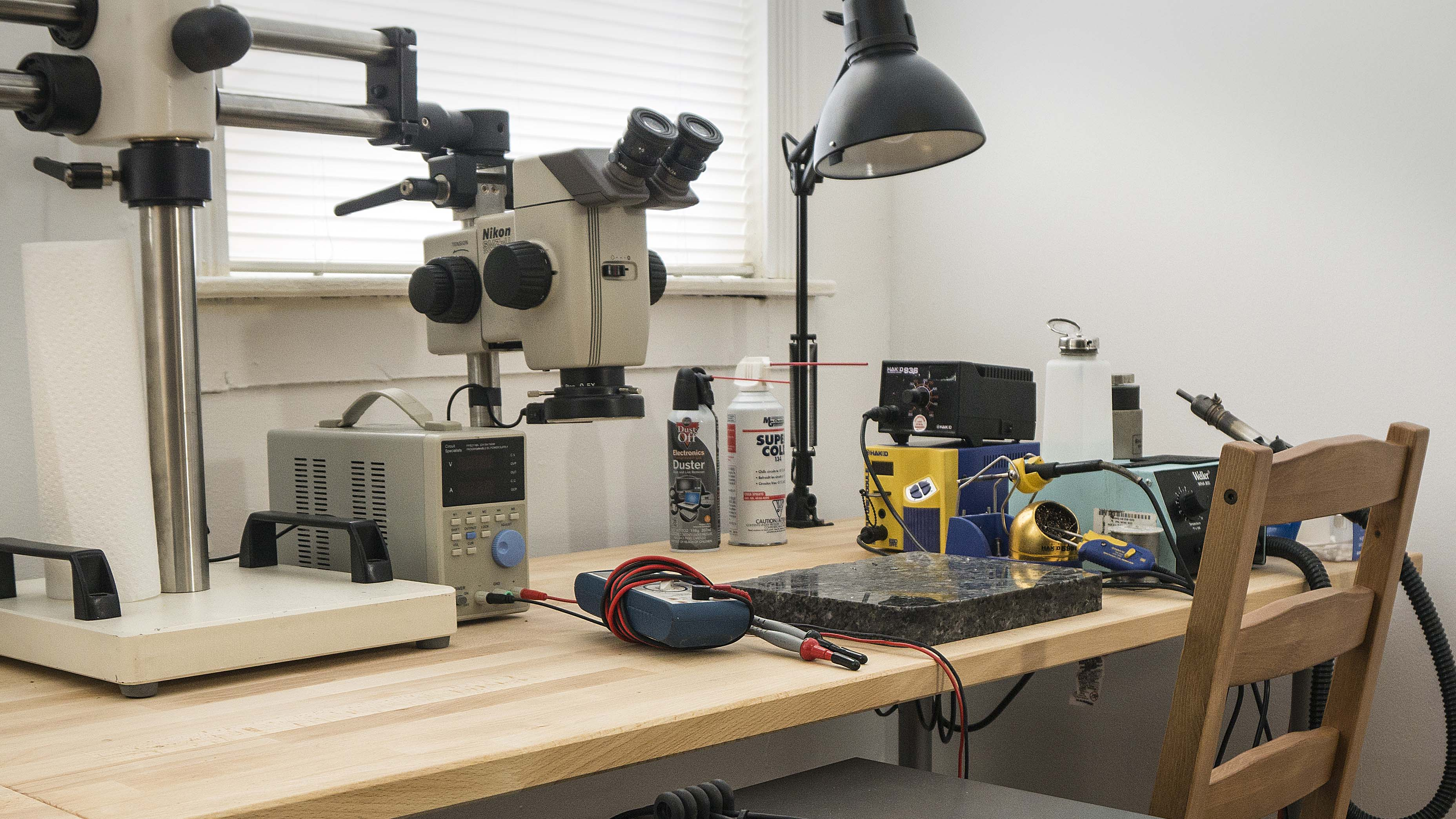 One of our micro soldering benches.